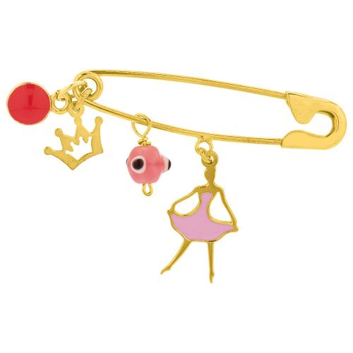 Yellow gold plated sterling silver safety pin, crown, evil eye and ballerina.