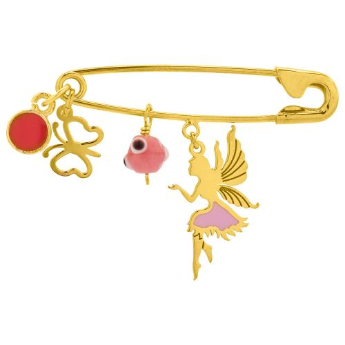 Yellow gold plated sterling silver safety pin, butterfly, evil eye and ferry.