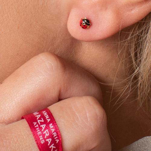 "14K Yellow gold children""s earrings, ladybugs."