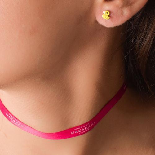 9K Yellow gold children's earrings, ducklings.