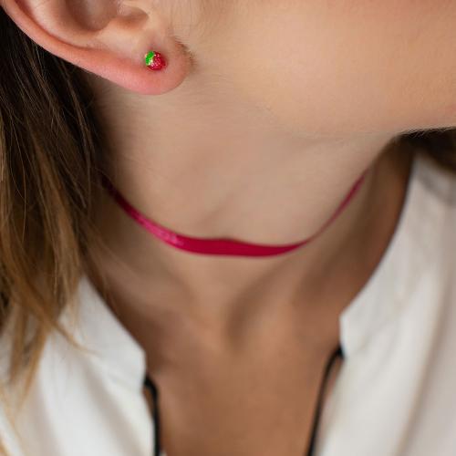 14K Yellow gold, children earrings, stawberries.