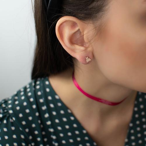 14K Rose gold children's earrings, white cubic zirconia bears.