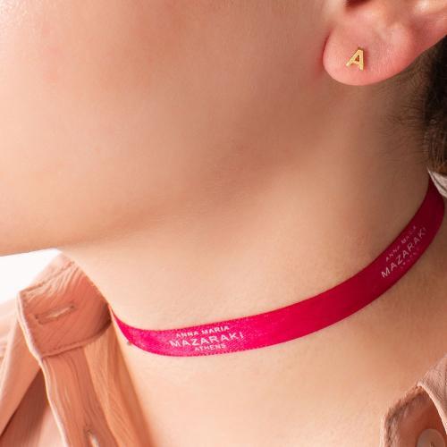 14K Yellow gold single earring, monogram A.