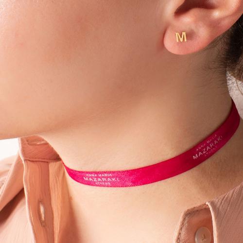 14K Yellow gold single earring, monogram Μ.