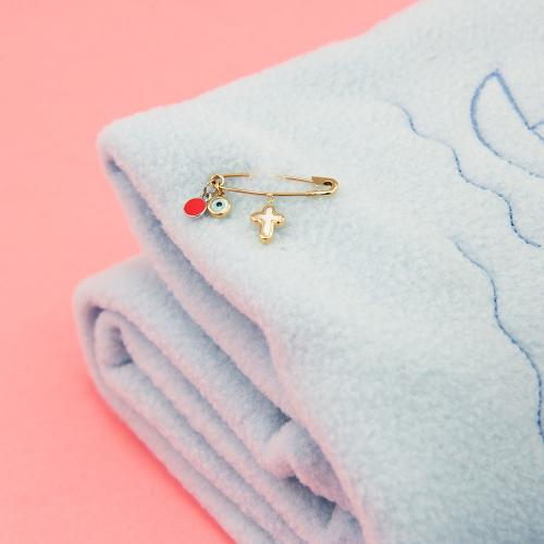 9K Yellow gold safety pin, evil eye and mother of pearl cross.