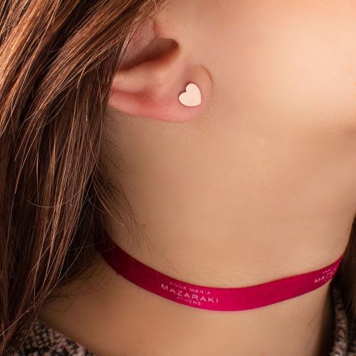 Σκουλαρίκια ροζ επιχρυσωμένο ασήμι 925, καρδιά.