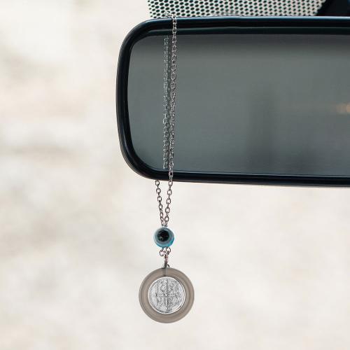 Γούρι αυτοκινήτου ασήμι 925, Άγιος Χριστόφορος και μάτι.