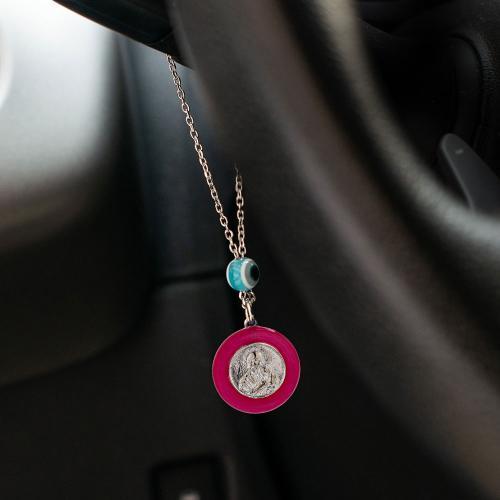 Γούρι αυτοκινήτου ασήμι 925, Άγιος Χριστόφορος ,σταυρός και μάτι.