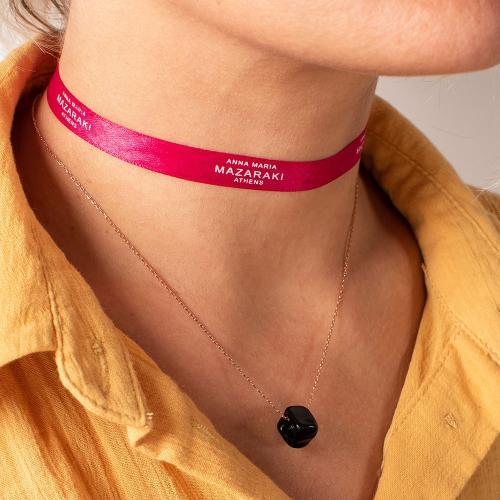 Κολιέ ροζ επιχρυσωμένο ασήμι 925, μαύρη πέτρα από γυαλί Μουράνο.