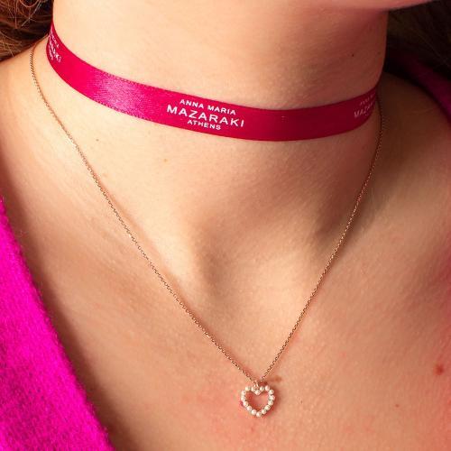 Κολιέ ροζ επιχρυσωμένο ασήμι 925, καρδιά με μαργαριτάρια.