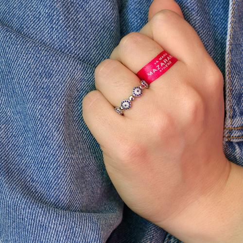 Δαχτυλίδι ασήμι 925, μάτια με ζιργκόν.