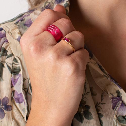 Δαχτυλίδι κίτρινο επιχρυσωμένο ασήμι 925, φούξια ζιργκόν.